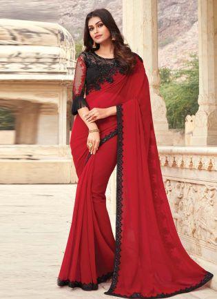 Ravishing Red Color Georgette Base Partywear Designer Saree With Black Blouse