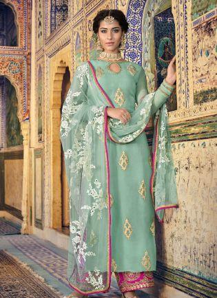 Elegant Sea Green Color Georgette Base Straight Cut Palazzo Suit