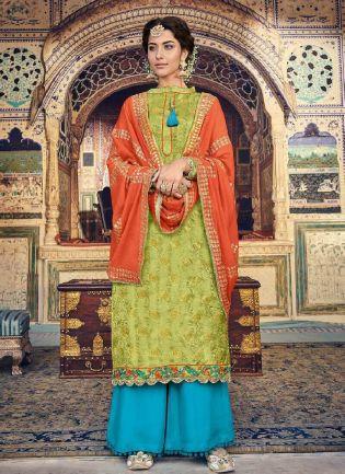 Astonishing Green Color Georgette Base Palazzo Salwar Suit