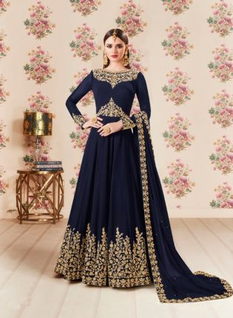 Navy Blue Party Wear Georgette Base Embroidery Work Anarkali Suit