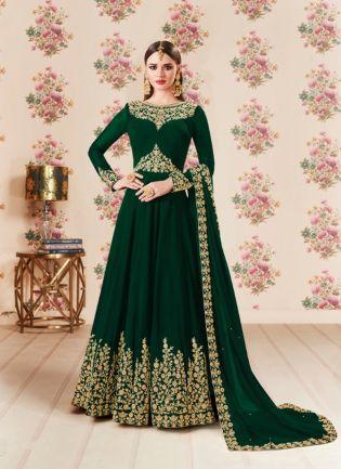 Dark Green Color Party Wear Georgette Base Heavy Embroidery Work Anarkali Suit