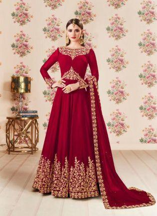 Maroon Color Party Wear Georgette Base Heavy Embroidery Work Anarkali Suit