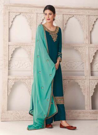Zari Work Dark Green Color Adorable Look Salwar Kameez