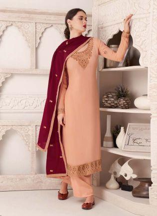 Peach Color Zari Work Pant Style Salwar Kameez With Maroon Dupatta
