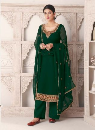 Georgette Fabric Forest Green Color Salwar Kameez With Dupatta