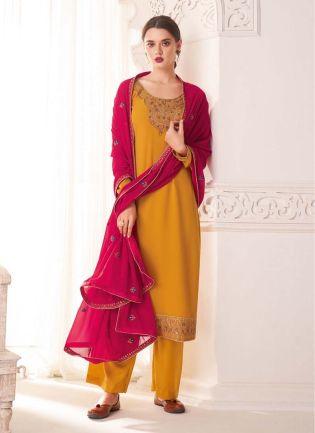 Mustard Yellow Color Stone Work Full Sleeves Salwar Kameez