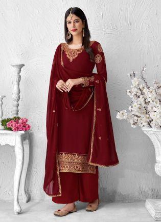 Maroon Color Georgette Fabric Zari Work Palazzo Salwar Kameez