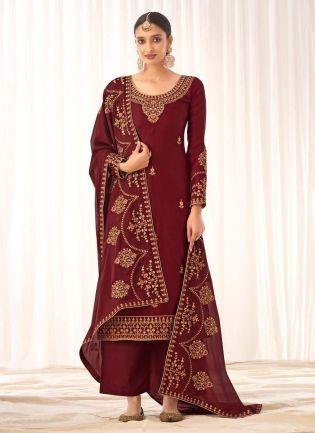 Trendy Maroon Color Silk Base Palazzo Salwar Suit