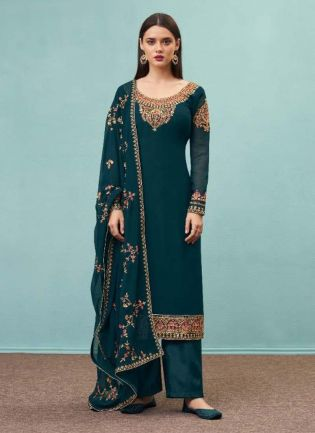 Amazing Teal Green Color Georgette Base Pant Style Suit