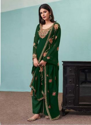 Glamorous Green Color Georgette Base Pant Style Suit