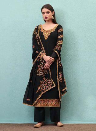 Beautiful Black Color Georgette Base Pant Style Suit