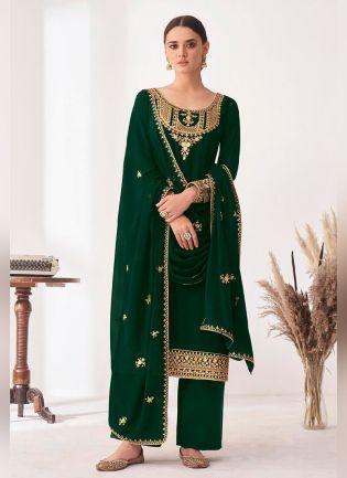 Gracious Green Color Punjabi suit With Georgette Base Salwar Kameez