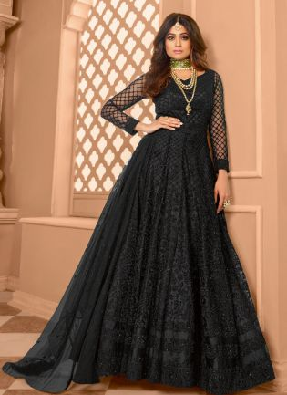 Delightful Black Color Soft Net Base With Embroidery Work Anarkali Suit