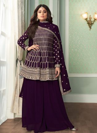 Terrific Wine Color Georgette Fabric Sequins And Zari Work Base Sharara Suit