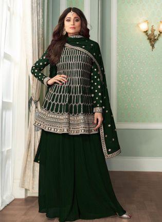 Forest Green Color Georgette Base Wedding Wear Designer Sharara Suit