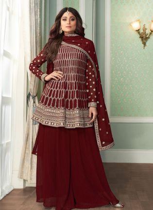 Adorable Maroon Color Georgette Base Heavy Work Weeding Wear Sharara Suit