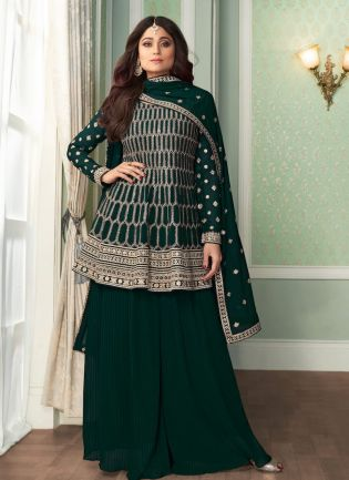 Attractive Pine Green Color Georgette Base Designer Peplum Style Sharara Suit