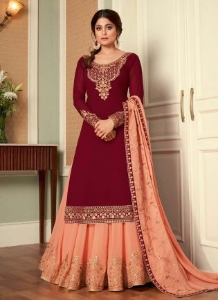 Magnificent Red And Peach Color Georgette Base Lehenga Suit