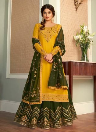 Exceptional Yellow And Green Color Georgette Base Lehenga Suit