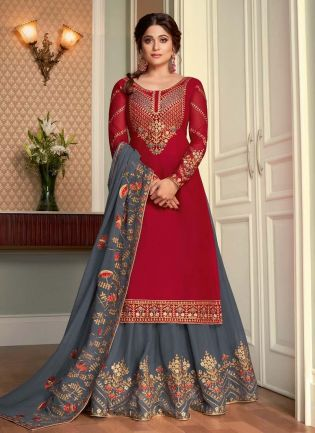 Trendy Red And Grey Color Georgette Base Long Choli Lehenga
