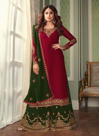 Georgette Fabric Maroon Color Zari Work Sharara Salwar Suit