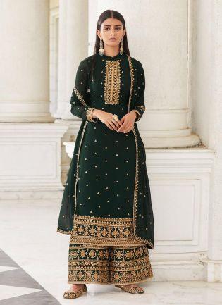 Dark Green Color Ethnic Wear Dori Neck Palazzo Salwar Suit