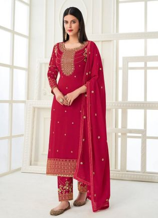 Pink Color Zari Work Georgette Base Pant Style Salwar Suit