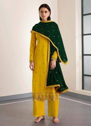 Glossy Look Yellow Color Zari Work Georgette Based Palazzo Salwar Suit