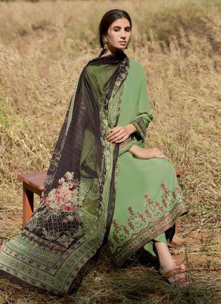 Eye-Captivating Look Green Color Pakistani Style Art Silk Base Palazzo Suit