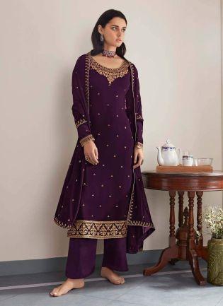 Purple Color Zari Work Full Sleeves Palazzo Salwar Suit With Dupatta