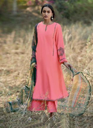 Neon Pink Color Art Silk Base Pakistani Style Palazzo Suit Printed Dupatta