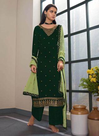 Green Color Zari Work Palazzo Salwar Suit With Light Green Dupatta