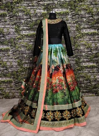 Multi Color Cord Work Designer Lehenga Choli