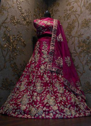 Pink Dori Work Velvet Lehenga Choli And Dupatta Set