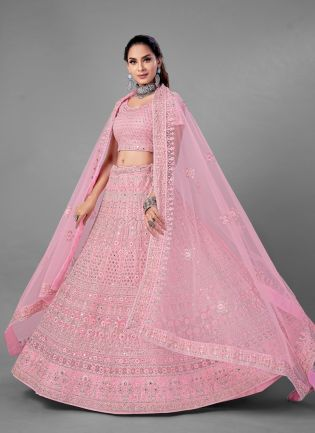 Elegant Look Pink Color Soft Net Base With Heavy Work Bridal Wear Lehenga Choli
