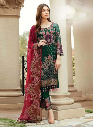Green Color Soft Net Base Resham And Zari WorK Pakistani Suit