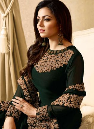 Dark Green Color Designer Heavy Embroidery Work Salwar Kameez Suit