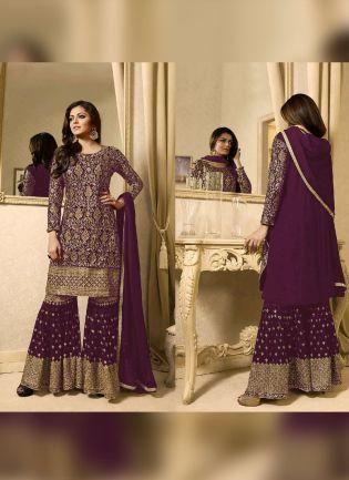 Designer Purple Color Heavy Embroidery Work Sharara Suit