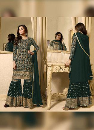 Designer Dark Green Color Heavy Embroidery Work Sharara Suit