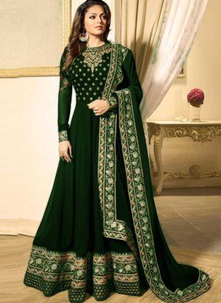 Dark Green Color Heavy Embroidered Work Designer Anarkali Suit