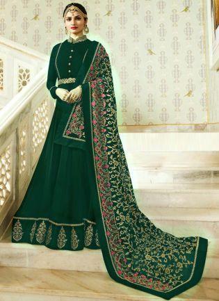 Designer Georgette Base Dark Green Color Anarkali Suit