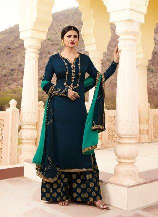 Navy Blue Color Crepe Silk Base Party Wear Sharara Suit