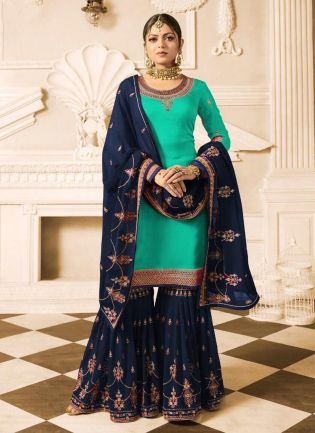 turquoise green Color Wedding Wear Heavy Embroidered Sharara Suit