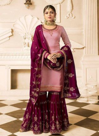 Light Pink Color Wedding Wear Heavy Embroidered Sharara Suit
