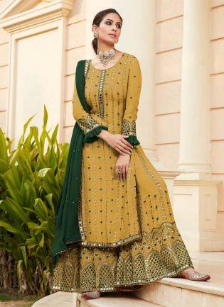 Ocher Yellow Color Georgette Base Wedding Wear Designer Look Sharara Suit