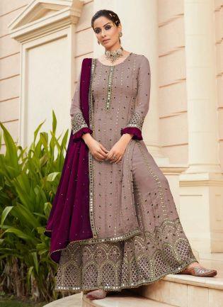 Trendy Pastel Purple Color Georgette Base Real Mirror Base Sharara Suit