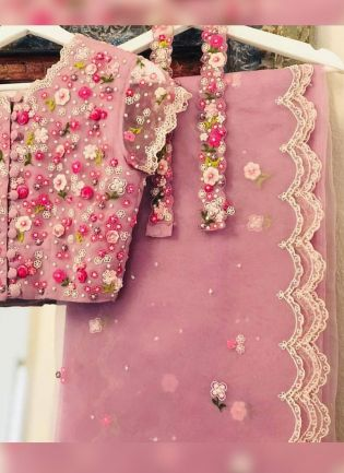Baby Pink Resham Moti Art Silk Embroidered Saree