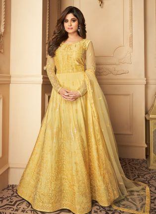 Elegant Yellow Heavy Embroidered Anarkali Suit