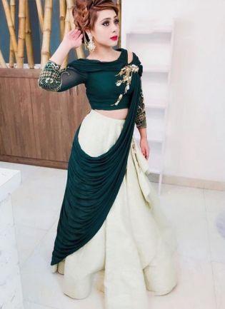 Dark Green Color Heavy Look Designer Lehenga Choli