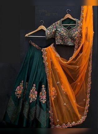 Bottle Green Color Banglory Silk Designer Lehenga Choli